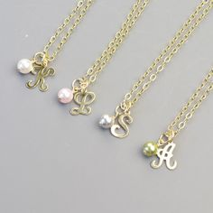 Pearl Initial Necklace - Gold Personalized Layering Necklace - Choose Swarovski Pearl Color - Bridesmaid - Gold Personalized Necklace by MyDistinctDesigns on Etsy