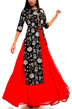 Navy Embroidered Jacket with Red Anarkali