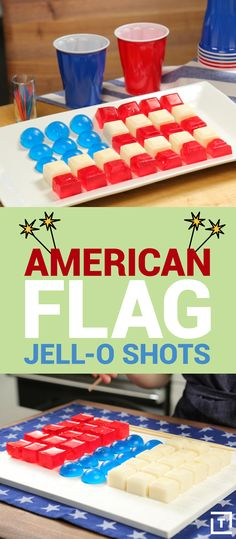 Grab the vodka and pledge allegiance to the flag -- the one thats made out of boozy Jell-O shots, that is. Ditch the shot glasses and make this vodka-spiked Jell-O flag. It'll be the ultimate centerpiece for your of July BBQ. Party Drinks, Fun Drinks, Yummy Drinks, Yummy Food, Cocktails, Summer Recipes, Holiday Recipes, Cafeteria Food, Shot Recipes