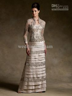 08cb9585f2c Wholesale Best Selling Column Long Sleeves Mother Of The Bride Dress  Taffeta Layers Beaded Sexy Mother