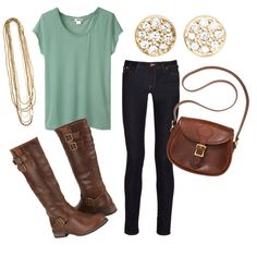 Green Tee, Dark Skinny Jeans, Brown Boots, Gold Accents