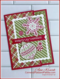 Christmas Cards using Frosted Gingerbread Bundle and Gingerbread & Peppermint DSP from Stampin' Up! Homemade Christmas Cards, Stampin Up Christmas, Christmas Cards To Make, Christmas In July, Christmas Cats, Xmas Cards, Christmas Cookies, Holiday, Wink Of Stella