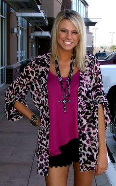 Berry Tank: $35.00-  Berry Leopard Silk Top: $88.00-  Black Lace Shorts: $98.00
