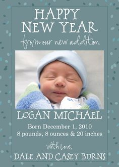 Happy New Year Birth Announcement