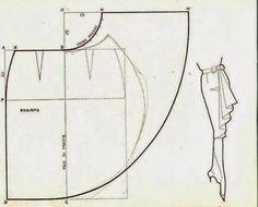 DETALHE DE MANGA COM CORTE1-Desenhe o molde base.2- Desenhe na manga a largura que pretende (aqui fica bem com 2 cm)3- Copie para papel e abra a parte superior da manga.4- Deve abrir ligeiramente (0,5