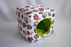 cosy cuddle cube for guinea pigs owls on white/lime by casamuig, $29.90