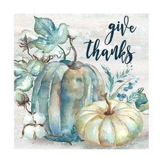 'Blue Watercolor Harvest Pumpkin Give Thanks II' Graphic Art Print on Canvas The Seasonal Aisle Size: 94 cm H x 94 cm W x cm D Fall Canvas Painting, Autumn Painting, Autumn Art, Canvas Art, Canvas Prints, Fall Paintings, Blue Harvest, Pumpkin Art, Pumpkin Pics