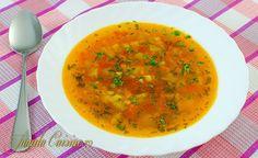 Ciorba de legume, usoara sanatoasa si potrivita pentru vegetarieni. Ciorba de legume a fost prima reteta pe care am gatit-o, intr-o vara, la tara, la bunici Cooking Time, Cooking Recipes, Romanian Food, Romanian Recipes, Tasty, Yummy Food, Vegan Foods, Soul Food, Food To Make