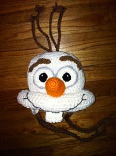 Crochet snowman frozen olaf inspired hat with earflaps
