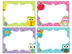 Owl Theme Classroom, Classroom Rules, Owl Writing, School Labels, Cute Frames, 1st Day Of School, Class Decoration, Printable Labels, Owl Labels