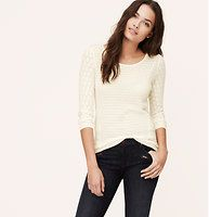 Diamond Pointelle Sweater - Delicate pointelle diamonds femme up this effortless style. Scoop neck. 3/4 sleeves. Banded neckline. Forward side seams. Ribbed cuffs and hem.