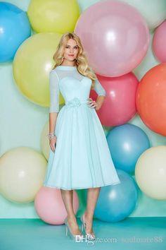 2016 Tea Length Bridesmaid Dresses For Bridesmaids Dresses Ronald Joyce Chiffon Prom Dresses Bateau Sash 3 4 Long Sleeve Junior Bridesmaids Dresses Maxi Bridesmaid Dresses From Soulmate88, $80.05| Dhgate.Com