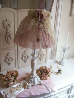 Shabby Lamp w Floral Rose Lace Lamp Shade