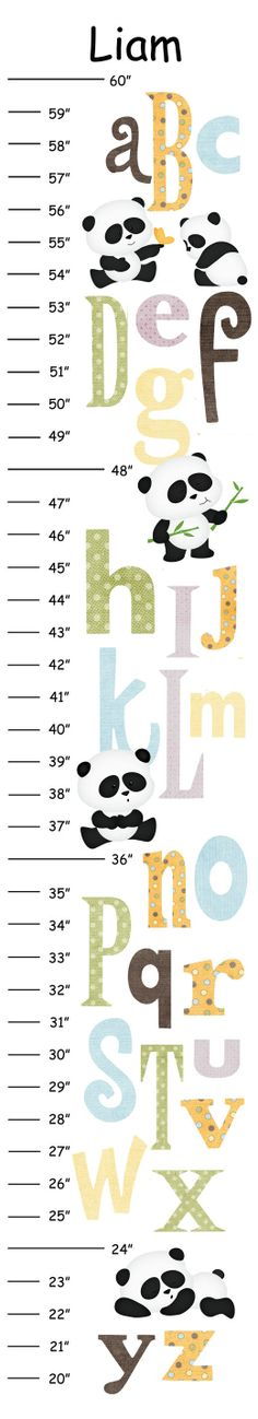 Personalized ABC Panda Canvas Growth Chart