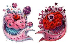 Pink And Red Cupcake Tattoos Designs. Pink And Red Cupcake Tattoos Designs : Cupcakes TattoosColorful Cupcake With Two Red Roses And Diamond Tattoo Design By Body Art Tattoos, Tattoo Drawings, New Tattoos, Cool Tattoos, Phoenix Tattoos, Mouse Tattoos, Dragon Tattoos, Ankle Tattoos, Friend Tattoos