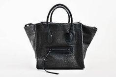 """Celine $2100 Gray Black Felt & Leather Winged """"Medium Phantom Luggage"""" Tote Bag"""