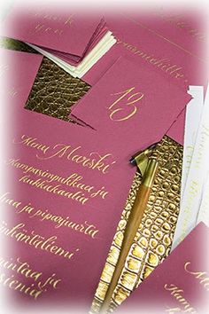 Writing with gold ink on purple paper....nice and bold :)