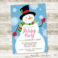 Wintery Christmas Snowman Holiday Party Digital by MischiCreative