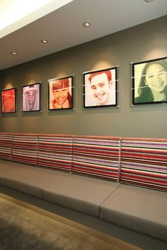 Bench style seating.....Lavrin & Lawrence Orthodontics | design by Levitch Design Associates