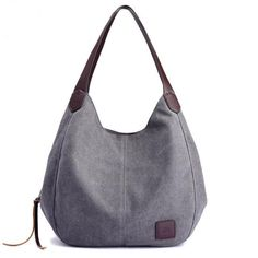 c45f389f39 Mystery Women s Multi-pocket Cotton Canvas Handbags Shoulder Bags Totes  Purses