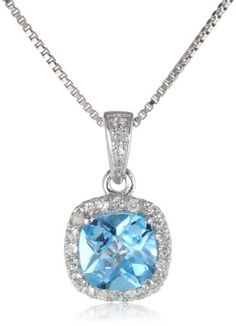 Sterling Silver Checkerboard Cushion Swiss Blue Topaz and Round Created White Sapphire Halo Pendant Necklace 18 -- Details can be found by clicking on the image.(This is an Amazon affiliate link and I receive a commission for the sales)