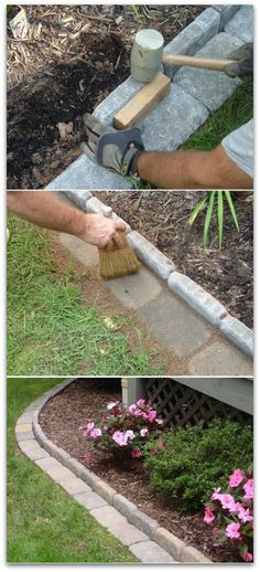 Brick edging for your flower beds - now the lawn mower can get right up to the flower beds without hurting the flowers!
