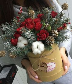 . Winter Floral Arrangements, Christmas Flower Arrangements, Holiday Centerpieces, Christmas Flowers, Christmas Wreaths, Christmas Crafts, Christmas Decorations, Christmas Ornaments, Cotton Bouquet