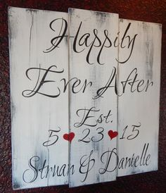 Personalized Happily Ever After rustic hand painted wood sign by CherryCreekCrafts on Etsy.  Custom sizes and colors available.  Great wedding gift!