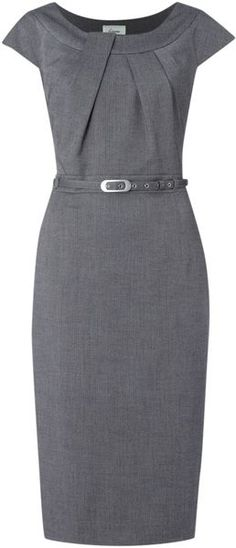 Linea Twist Neck Belted Dress in Silver (grey) - Lyst