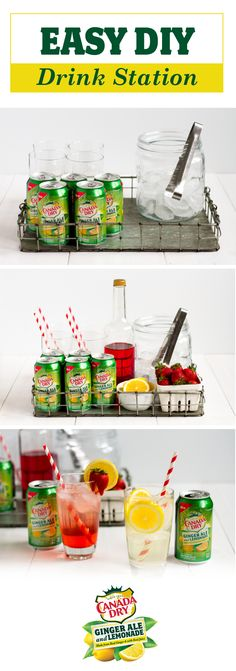 Create a one-stop shop for all things refreshing with the help of this Easy DIY Drink Station. Featuring the NEW Canada Dry® Ginger Ale and Lemonade, simple glassware, and fresh citrus, hosting your spring party just got a whole lot more relaxing. With a cool drink in hand, enjoying the warm weather with family and friends is sure to become a weekend routine. Pick up all the ingredients you'll need to celebrate simply at your local Kroger banner store.