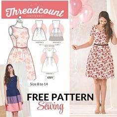 FREE DOWNLOAD - Threadcount 3 in 1 Dress Pattern #dress #patterns