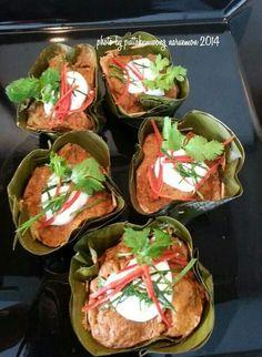 Thai food. Hor Mok (Steamed Thai Fish Custard)