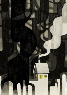 A small house in the woods.  Available as a print here - http://jonathanestore.bigcartel.com