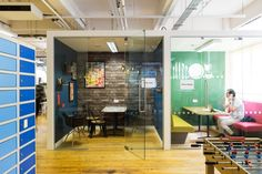 Moonpig office by ThirdWay Interiors, London – UK Office Wall Design, Office Walls, Office Interior Design, Modern Interior, Visual Merchandising, Ping Pong Room, Uk Retail, Feature Wallpaper, Corporate Interiors