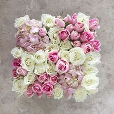 'Ava' is a sweet confection of fluffy white roses, Maria pink roses, and baby pink hydrangeas in our signature black box. How sweet it is to be sending love and best wishes when you're far away. #maisondesroses #bloombox #Ava #white #pink #roses #hydrangeas #bestfriends #celebrations #love