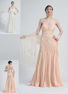 Peach Ruched Chiffon Beaded