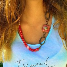 Retro Red statement Necklace made with vintage jewelry metal parts #jewelry #necklace #retro #red #handmade