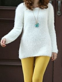 White Solid Color Loose Long Sleeve Bottoming Knit Sweater