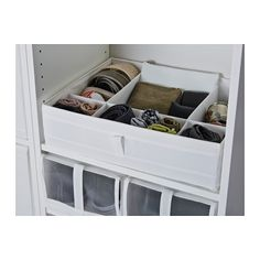 SKUBB Box with compartments - white $7.99 Helps you organize socks, belts and jewelry in your wardrobe or chest of drawers.