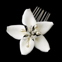 Orchid Style Bridal Comb With Crystals & Pearls from How Divine ~ https://www.howdivine.com.au/store/product/orchid-style-bridal-comb-with-crystal-pearl-accents