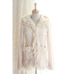 $10.55 Sweet Hooded Solid Color and Fringe Hem Design Coat For Women