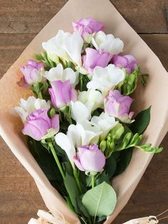 Lilac Roses & White Freesia - Flowers Direct