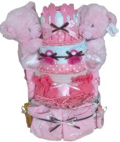 Diaper Cake for Twin Girls. Twin baby diaper cake! $135.00