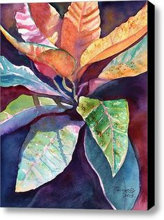 Colorful Tropical Leaves 3 Original Watercolor Painting of Tropical Foliage from Kauai Hawaii by Marionette orange blue pink purple Leaf Wall Art, Leaf Art, Tropical Art, Tropical Leaves, Tropical Interior, Watercolor Flowers, Watercolor Paintings, Ink Painting, Colorful Paintings