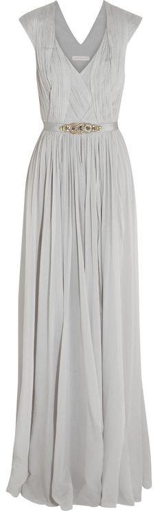 Matthew Williamson Gray Embellished Stretch Silk Georgette Gown