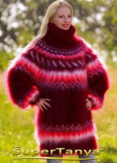 Made to order Icelandic hand knitted mohair sweater in burgundy red by SuperTanya Mohair Sweater, Red Pattern, Sweater Outfits, Hand Knitting, Fur Coat, Burgundy, Turtle Neck, Etsy, Trending Outfits