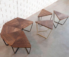 Fractal Modular Table from Design by Them timber and black metal frame, boardroom or training room office table (Modular Furniture Designs) Modular Table, Kitchen Modular, Modular Furniture, Metal Furniture, Cool Furniture, Modern Furniture, Furniture Design, Furniture Ideas, Driftwood Furniture