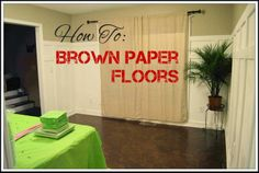 DIY: Brown Paper Floors - We have carpet in our house. and pets. Anyone with allergies (like me) can tell you that is a terrible combination. I finally deci. Paper Bag Flooring, Diy Flooring, Flooring Ideas, Cool Diy, Fun Diy, Do It Yourself Home, Organizing Your Home, Brown Paper, Home Renovation