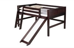 Camaflexi Full Low Loft Bed with Slide - Panel Headboard - Cappuccino Finish - C522F_CP