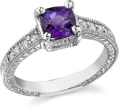 ApplesofGold.com - Art Deco Diamond and Amethyst Ring, 14K White Gold, $775